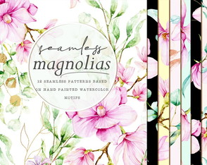 Magnólias aquarela kit b - papeis digitais patterns premium
