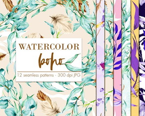 Boho aquarela papeis digitais patterns premium texturas