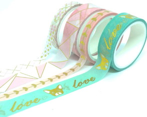 Kit Washi Tapes com Foil - Bulldog (4 Unidades)