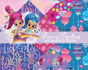 Kit Scrapbook: Papéis Shimmer e Shine