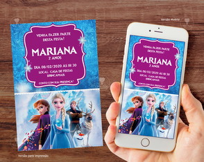Convite Digital Frozen 2 / Whatsapp R. 330