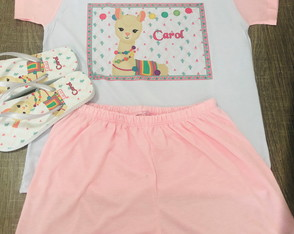 kit festa do pijama lhama pijama e chinelo