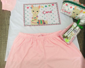 kit festa do pijama lhama kit dental necessaire box