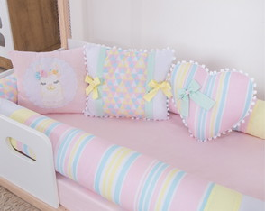 Kit Cama Montessoriano Solteiro Lhama Candy Colors