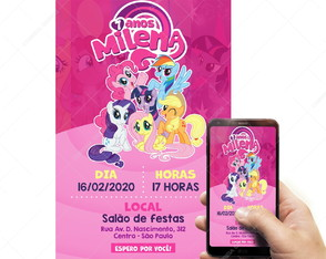 Arte Convite Digital My Little Pony Envio Por Email