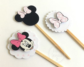 Topper para doces Minnie Rosa