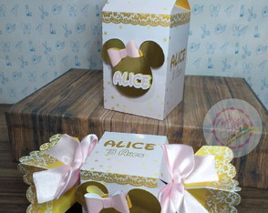 Kit 20 Caixas Luxo Minnie Rosa