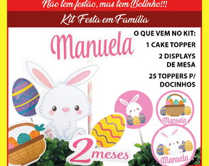 Kit festa: Topo de Bolo, Display de mesa e toppers