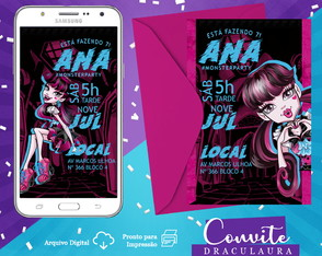 Convite Digital: Monster High Draculaura