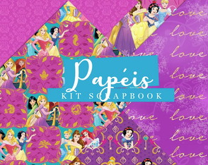 Kit Scrapbook: Papéis Princesas