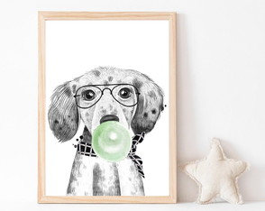 Quadro Decorativo Infantil Cachorrinho C\ Chiclete Verde