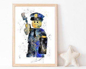 Quadro Decorativo Infantil Aquarela Lego
