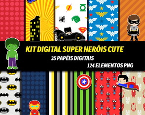 Kit Digital Tema Super Herói Cute