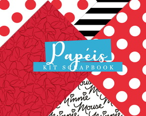 Kit Scrapbook: Papéis Minnie Vermelha