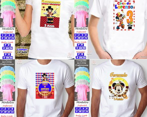 01 Camiseta Personalizada Adulto Circo do Mickey Mouse
