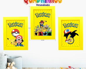 KIT 3 Quadrinhos Personalizados 18x25 cm Pokemon