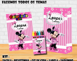Kit Combo: Sacola + Giz + Revista Colorir Minnie Rosa