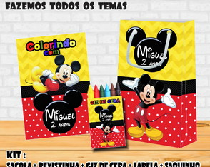 Kit Combo: Sacola + Giz + Revista Colorir do Tema Mickey