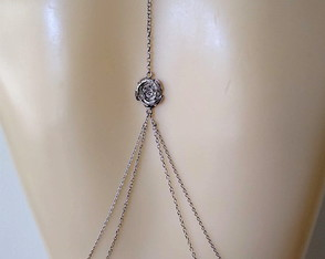 Tudor Rose Colar de Corpo Body Chain Corrente Dupla