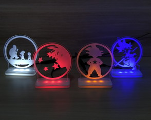 Conjunto de 04 Mini-Luminárias Led Dragon Ball Goku