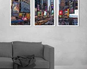Kit 3 Quadros Times Square Nova York Usa Estrada 45x30 cm