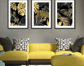 Kit 3 Quadros Plantas Gold e Black 30x45 45x30 cm
