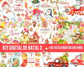 KIT DIGITAL NATAL 3 - AQUARELA