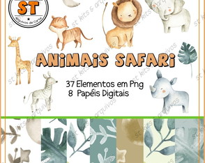 Kit Digital Animais Safari Aquarelado