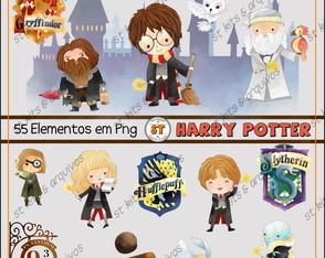 Kit Digital Harry Potter Aquarelado