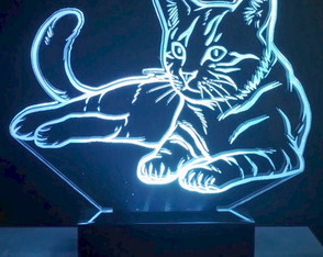 Luminária Abajur Led 3D Display Led Rgb - Gato Deitado