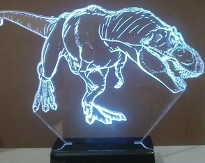 Luminária Led 3D Abajur Display Led Rgb - Tiranossauro Rex