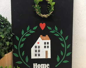 Home Sweet Home Placa Decorativa Guirlanda
