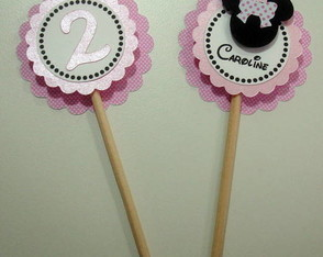 Toppers para cupcake Minnie Rosa