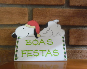Plaquinha Boas Festas do Snoopy