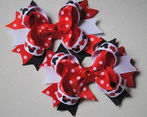Par de mini laços de boutique Minnie