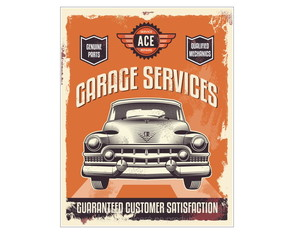 Placa Mdf Retrô Garage Services -749