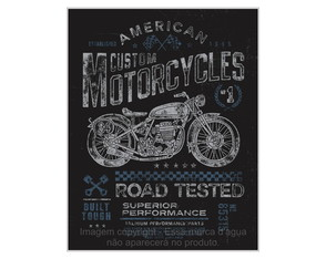 Placa Retrô Mdf Custom Motorcycles - 762