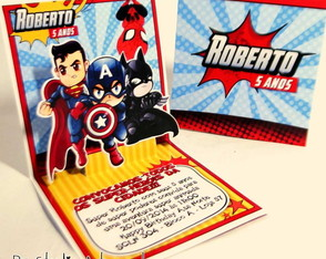 Convite Mini Pop Up - Super Herói
