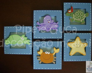 (DO 0003) Quadros decorativos fundo mar