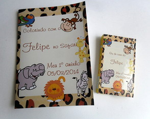 Lembrancinha mini Kit colorir safari