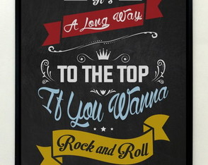 Quadro Chalkboard Rock and Roll (AC/DC)