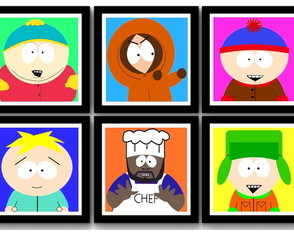 Kit 6 Quadros South Park Pop Art