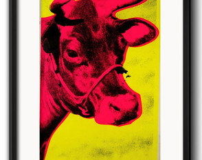 Quadro Warhol Cow Pop Art com Paspatur