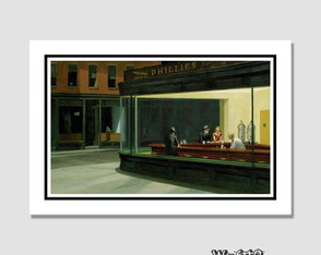 Quadro Edward Hopper Nighthawks 60x40cm N7 Decoracao Sala