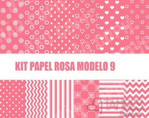 Kit papel digital rosa e branco