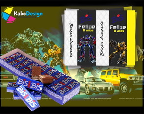 Rótulo para chocolate Transformers