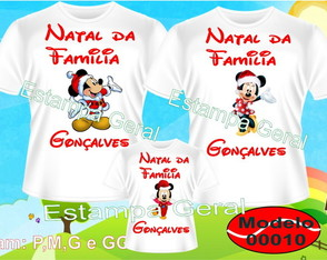 Kit 3 Camisetas Natal Mickey e Minei