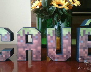 Letra 3D decorada Minecraft