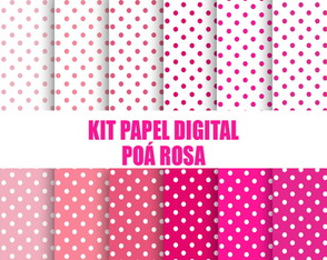 Papel digital poá rosa