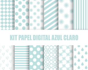 Kit papel digital azul claro